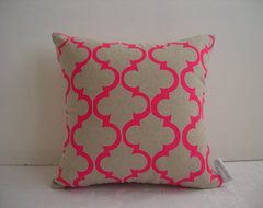 Pink Geometric Design Cushion Cover by Aqua Door Designs eclectic-decorative-pillows