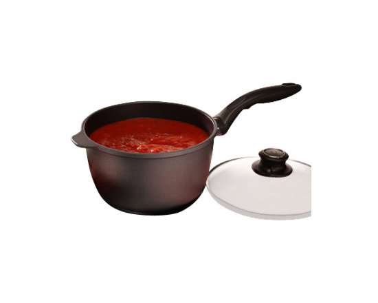 """Swiss Diamond - Nonstick Saucepan with Lid - 3.2 qt (8"""") - The Swiss Diamond 3.2-quart (8 inch) Saucepan is ideal for delicious gravy, spaghetti sauce, and more! Heavy-duty cast aluminum construction ensures even heat distribution without hot spots  less stirring required! Ergonomically designed handles stay cool on the stovetop. No more scrubbing and soaking  the diamond-reinforced coating ensures easy clean-up with warm water and a soapy sponge. Suitable for use on all gas and electric stovetops  induction version sold separately. Heat-tempered glass lid features an adjustable steam vent to control moisture and ensure optimal texture and flavor. Safe for dishwasher use, but hand-washing is recommended. Oven safe up to 260C (500F)."""