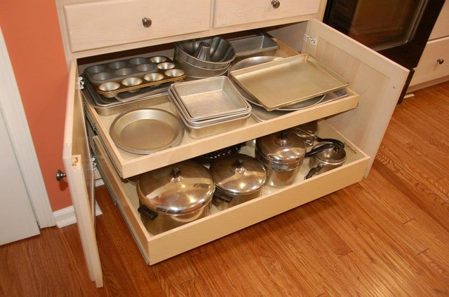 Pull out shelves and a center stile removal traditional for Kitchen cupboard drawers