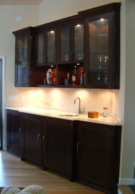 Builtin sever bar cherry wood espresso finish w onxy for Built in bar counter