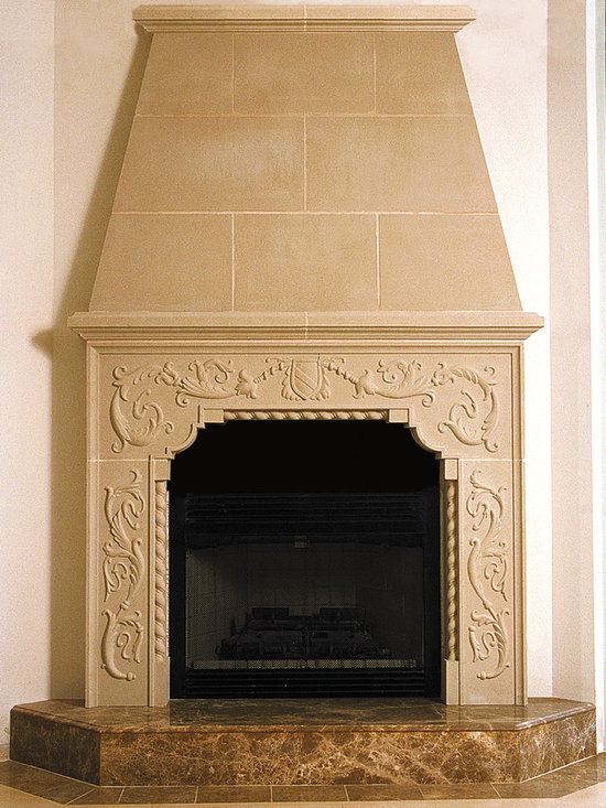 Cast Stone Overmantel #10 - Pictured with Carved Brentwood cast stone fireplace mantel