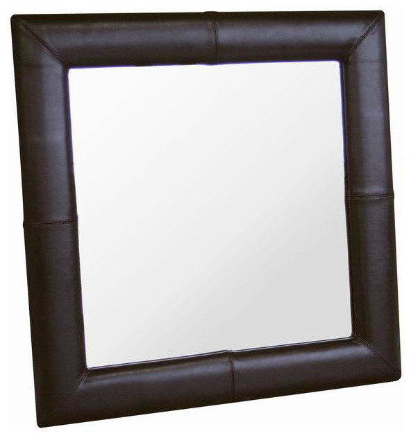 Square Espresso Brown Leather Mirror contemporary-mirrors