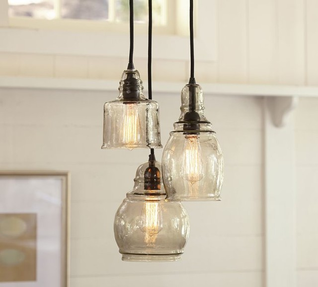 Paxton Handblown Glass 3 Light Pendant Contemporary