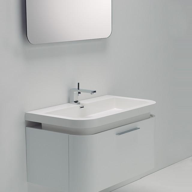 Milano Stone Vos White Wall Mounted Designer Bathroom Vanity Unit 900 Contemporary Bathroom
