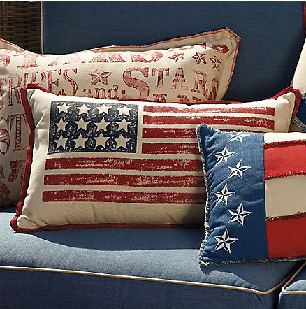 Hand painted american flag lumbar pillow modern for American flag bedroom ideas