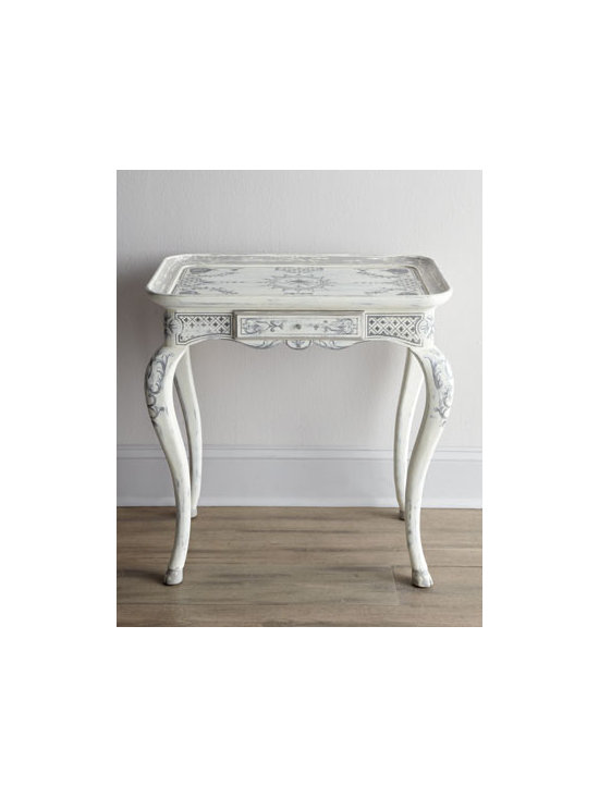 """Florence de Dampierre - Florence de Dampierre """"Babette"""" Side Table - Inspired by one found at the Musee Carnavalet in Paris, this petite side table features cabriole legs and elaborate hand-painted designs. From the Florence de Dampierre Collection for John-Richard. Handcrafted of acacia wood. Hand-painted rubbed whit..."""