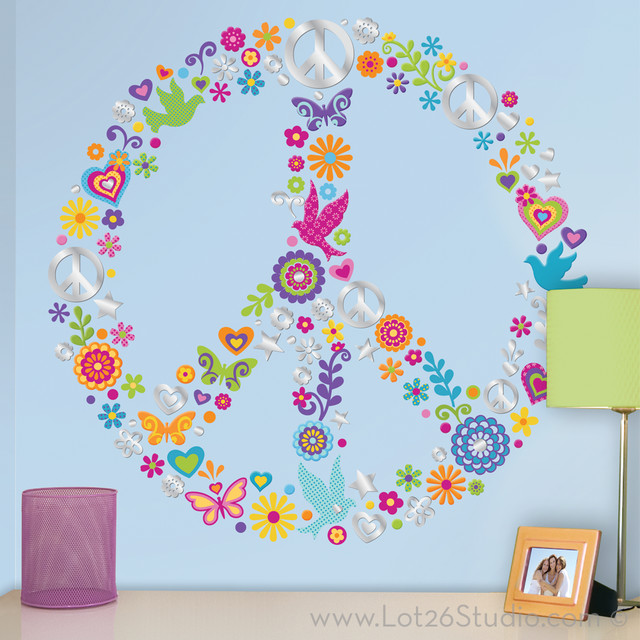 peace sign collage wall decals wall decals san paisley peace sign wall sticker kit peace sign decals
