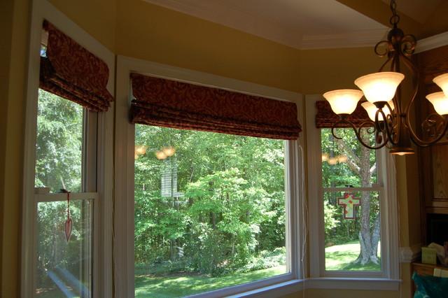 Flat roman shades in bay window contemporary roman for Contemporary window treatments for bay windows