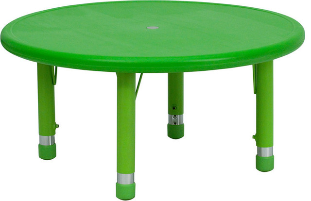 33 Round Height Adjustable Green Plastic Activity Table Contemporary Kids Tables And