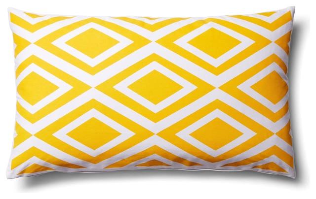 Modern Outdoor Lumbar Pillows : Indoor Outdoor Geometric Diamond Lumbar Rectangle Modern Pillow, Yellow, 14x24, - Contemporary ...