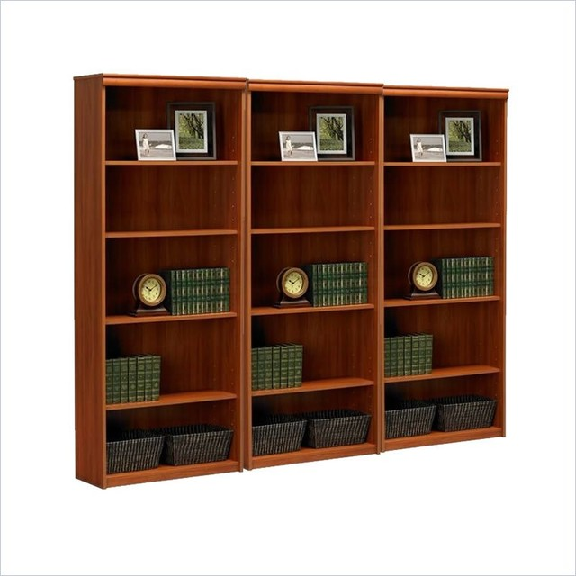 Ameriwood 5-Shelf Standard Wall Bookcase in Expert Plum - Transitional - Bookcases Cabinets And ...