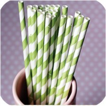 Spring Green Stripe Paper Straws contemporary-specialty-kitchen-tools