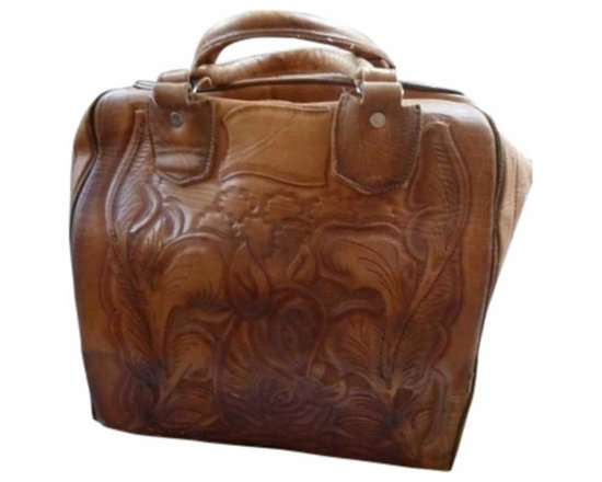 Leather Bowling Ball Bag - This is an unusual & hard to find item from the 1960's - a hand tooled leather bowling ball bag.