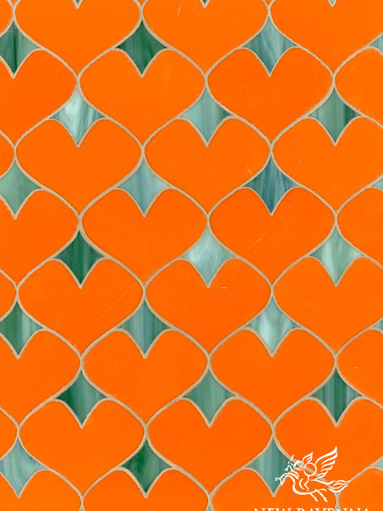 Erin Adams - Hearts - Hearts, a glass waterjet mosaic shown in Stella and Peacock Topaz, is part of the Erin Adams Collection for New Ravenna Mosaics.