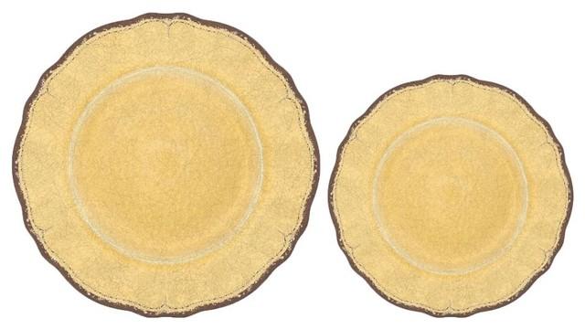 Melamine Assorted Plates, Mustard, Set of 16 - Rustic - Dinnerware ...