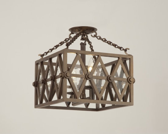 Ryan Chandelier - Art | Harrison Collection - Square, semi-flush iron chandelier in a painted bronze finish with clear seeded glass.