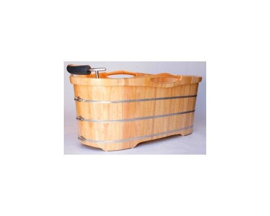 """Asian Style Bathroom - ALFI AB1163 61"""" Free Standing Oak Wood Bath with Cusion Headrest"""