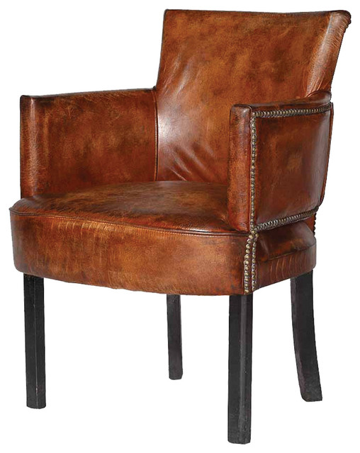 Cigar leather upholstered arm chair contemporary for Leather dining chairs with arms
