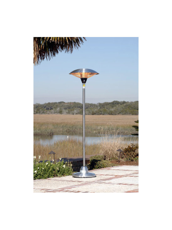 Fire Sense Stainless Steel Floor Standing Round Halogen Patio Heater - Weighing just over 30 pounds, the Fire Sense Stainless Steel Floor Standing Round Halogen Patio Heater can be easily moved to accommodate any indoor or outdoor area. -Mantels Direct