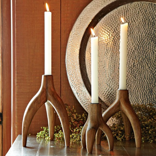 Wooden Tripod Antler Candleholder contemporary-candleholders