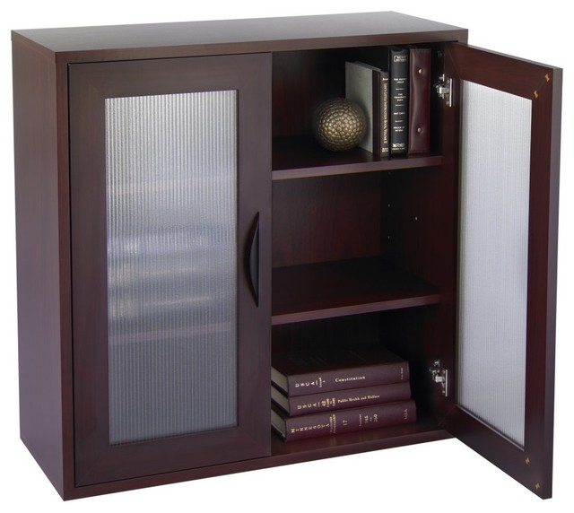 Bookcase with Glass Doors 30-in. High - Mahogany - Modern - Bookcases ...