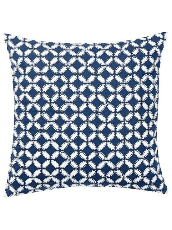 Audrey Eyelet Appliqué Pillow Cover, Navy -