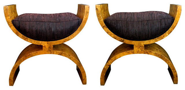 Boldly-Scaled Pair Of Continental Biedermeier Burl Benches traditional bedroom benches