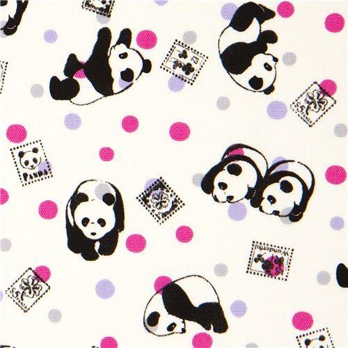panda bear Kokka oxford fabric with stamps u0026 dots - Fabric ...