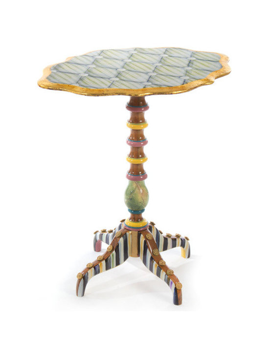 "Cake Stand Table | MacKenzie-Childs - If you've searched high and low to no avail for something pretty and proper, but with a punch of personality, then look no more. Our Cake Stand Table takes dainty decorum and gives it a dash of fresh, even flirty, fun. This platform-style accent table is outfitted with a ""tufted"" ticking-stripe top, lots of gold leaf, Courtly Stripes, faux marbling, multicolored accents, and gold-tone buttons."