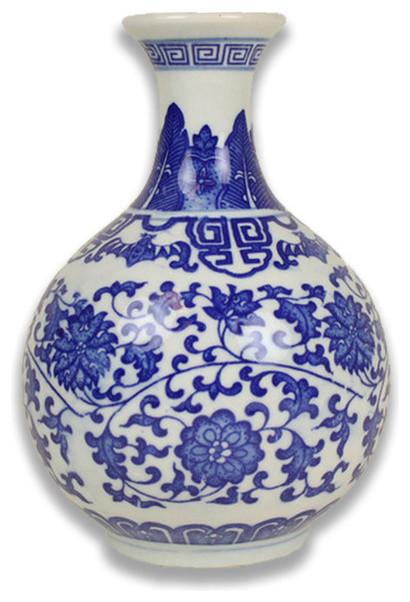 Blue And White Greek Key Vase Asian Vases By Furbish