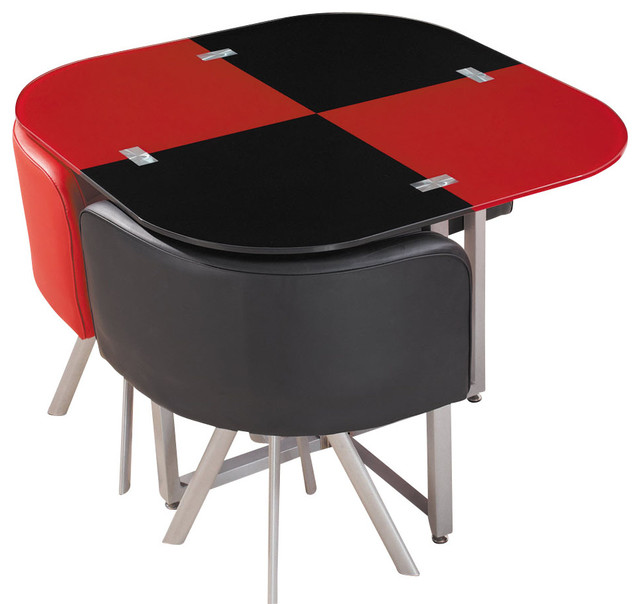 Global Furniture USA 536 Dining Table In Red And Black With Metal