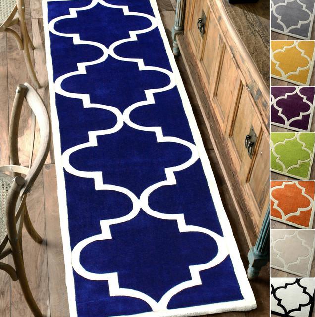 nuLOOM Handmade Luna Moroccan Trellis Grey Rug (2'8 x 10' Runner) contemporary-rugs