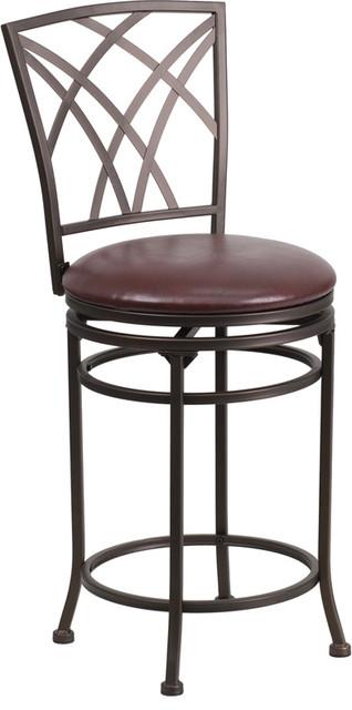 "24"" Brown Metal Counter Height Stool with Brown Leather Swivel Seat contemporary-bar-stools-and-counter-stools"
