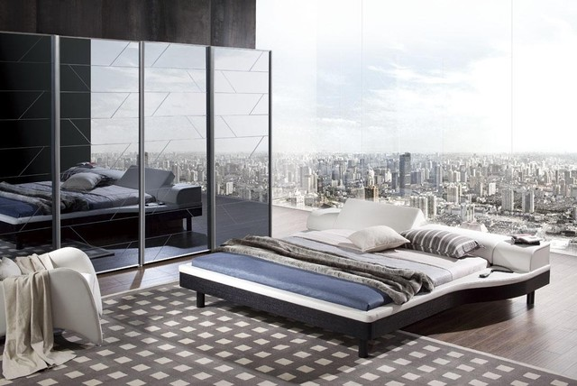 Italian Quality Leather Contemporary Master Bedroom Designs modern-beds