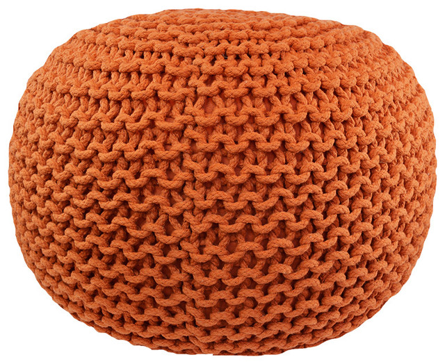 Cable Knit Pouf, Round, Orange - Contemporary - Floor Pillows And Poufs - by Brandwave Design