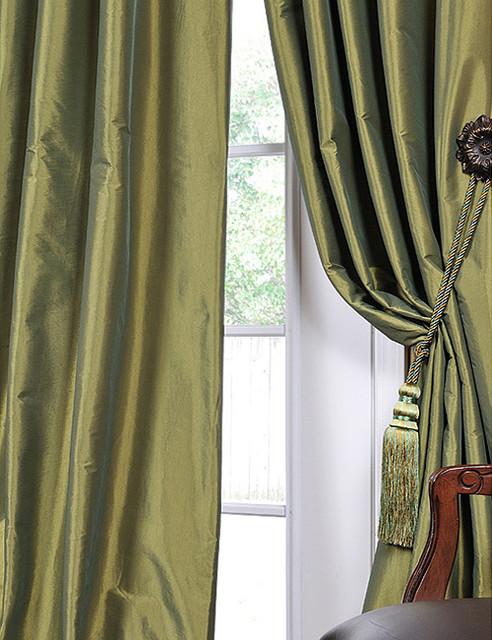 Fern Green Solid Faux Silk Taffeta 96 Inch Curtain Panel