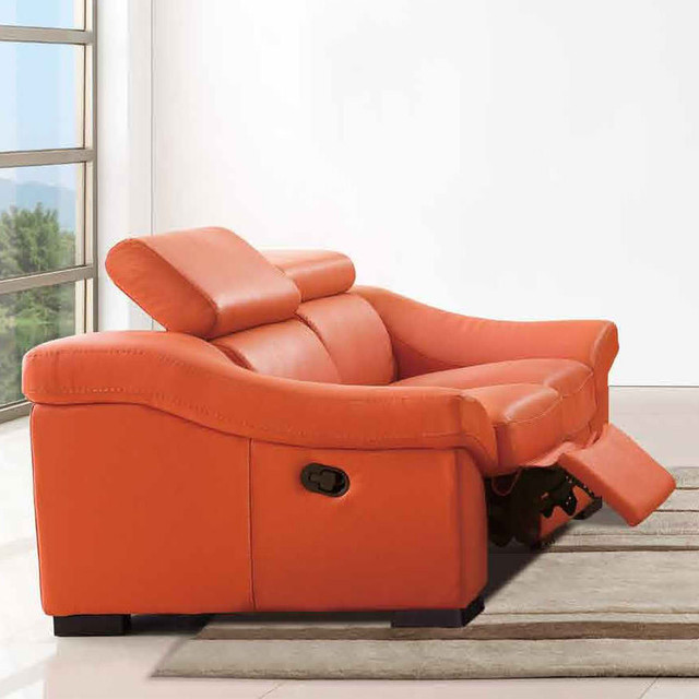 8021 reclining loveseat in orange modern loveseats for Modern love seats