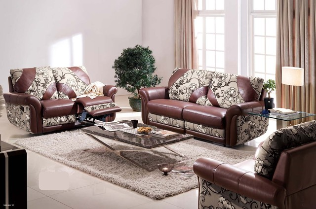 Concetta italian leather and microfiber reclining sofa set - Microfiber living room furniture sets ...
