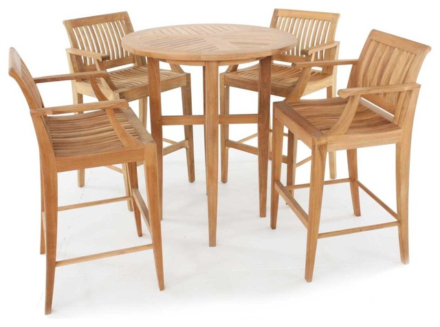 Laguna 5pc Teak Bar Stool and Bar Table Set modern-patio-furniture-and-outdoor-furniture