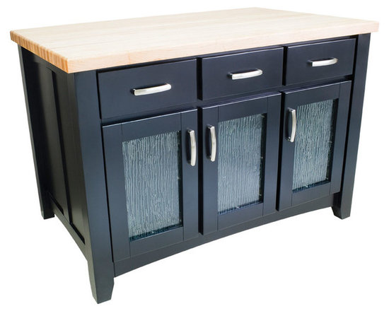 """Inviting Home - Miami Kitchen Island (black) - Black kitchen island with glass door inserts; 50-1/4""""W x 30-1/4""""D x 35-1/2""""H; 1-3/4"""" hard maple butcher block top (01) sold separately; Black kitchen island with glass door inserts. Kitchen island has soft-close under-mount slides on drawers soft-close European hinges and fully adjustable shelves; 1-3/4"""" hard maple butcher block top (01) sold separately."""
