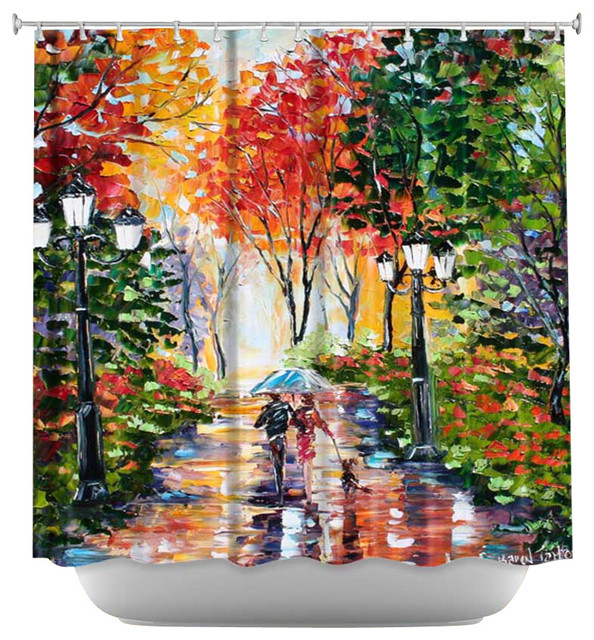 Shower Curtain Artistic - Walking the Dog contemporary-shower-curtains