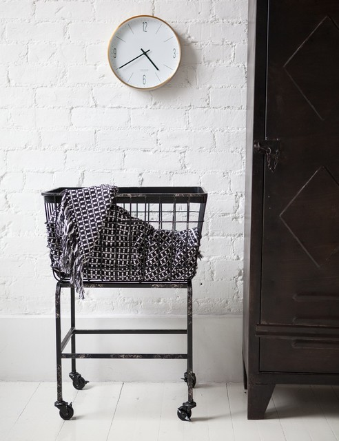 Downtown basket on wheels industrial laundry baskets for Laundry room baskets with wheels