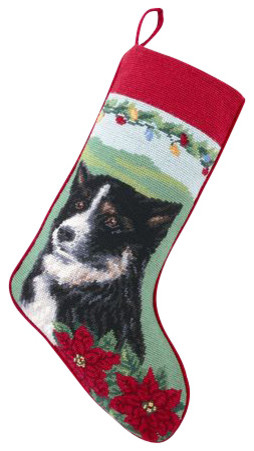 Border Collie Needle Point Stocking traditional-holiday-decorations