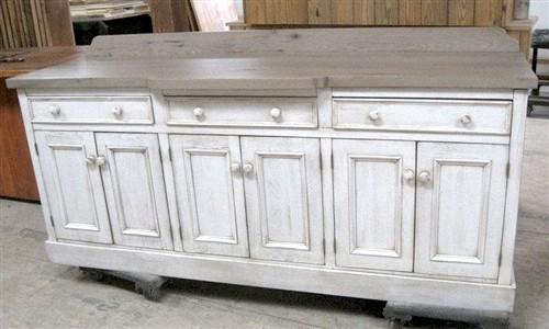 White Custom Oak Server With Decorative Molding