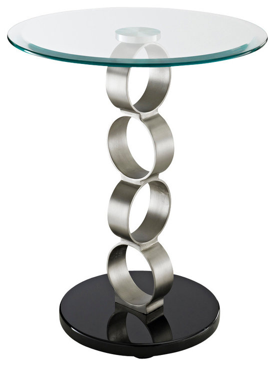Powell - Powell Circles Metal and Glass Table - The circles metal and glass table is a unique, contemporary addition to any space. The sturdy round black bottom holds up a spacious round glass tabletop. Large, round silver circles separate the two and brings an eye-catching, fun, modern look to this somewhat simple design. Some assembly required.