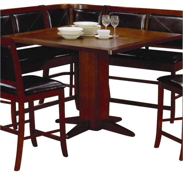 Coaster Lancaster Counter Height Pedestal Table in Distressed Dark Brown Finish transitional-dining-tables