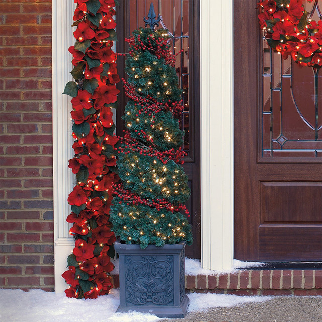 spiral topiary urn with red berry lights 6 39 frontgate. Black Bedroom Furniture Sets. Home Design Ideas