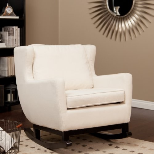 Upholstered rocking chair cream contemporary rocking chairs by