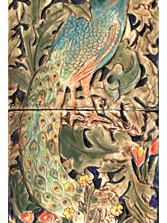 """William Morris Inspired Tiles - The Peacock-- inspired by an image on William Morris' 1887 Forest Tapestry.  It consists of two 4"""" porcelain tiles.  It is handmade by Barbara Schmidt from a handmade mold that she carved.  It is hand glazed with fired on ceramic stains.  It can be used inside or outside.  It would look beautiful on a Garden Wall or in a fireplace surround.  It compliments the Hare and the Fox tiles also available."""