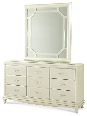 AICO Furniture - After Eight Upholstered Dresser and Mirror in Pearl Croc - 1905 transitional-bedroom-products